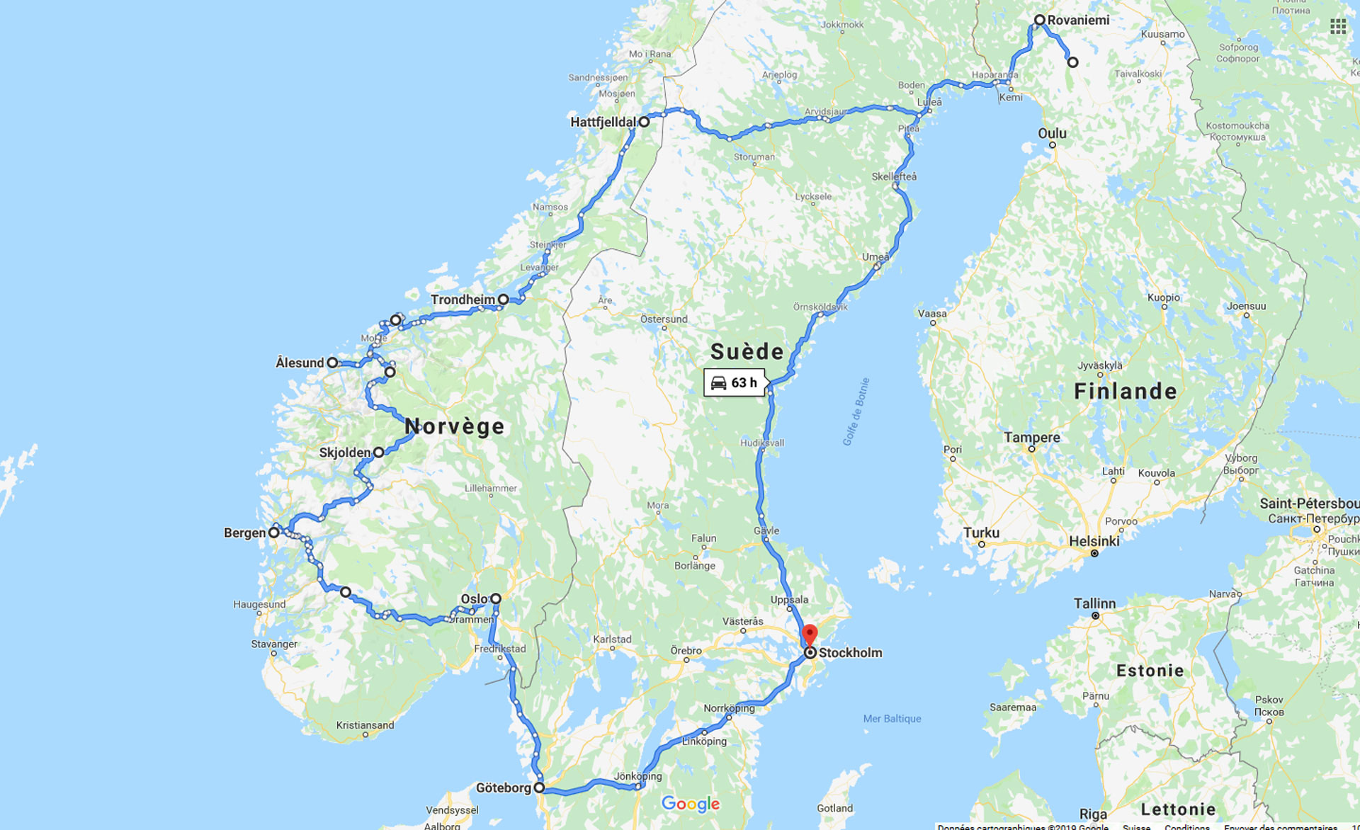 2019, scandinavie, carte, parcours